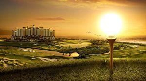 Превью обои здание, гольф, закат, вечер, прикольные, оригинальные, поля, искусство