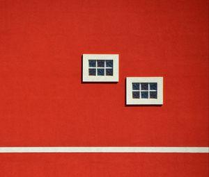 Превью обои здание, окна, красный, минимализм