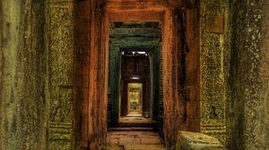 Превью обои здание, старинный, проход, дверь