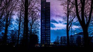 Превью обои здание, закат, швеция, облака
