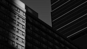 Превью обои здания, архитектура, тень, чб