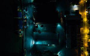 Превью обои здания, дорога, подсветка, ночь, темный, вид сверху