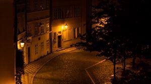 Превью обои здания, улица, фонари, освещение, темный