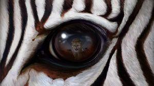 Превью обои зебра, глаз, отражение, леопард, хищник