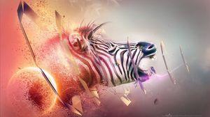 Превью обои зебра, голова, полосы, взрыв, фантазия