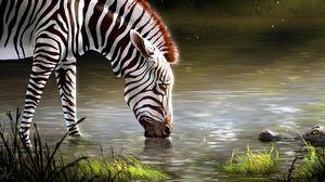 Превью обои зебра, озеро, арт, животное, дикая природа