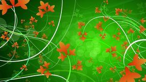 Превью обои зеленый, оранжевый, цветы, узоры, листья