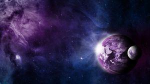 Превью обои земля, луна, вселенная, туманность
