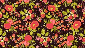 Превью обои земляника, яблоки, ягоды, паттерн, арт