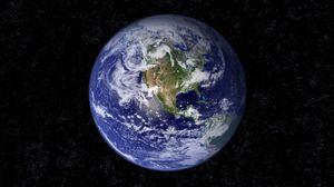Превью обои земля, планета, голубой, черный, звезды