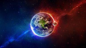 Превью обои земля, планета, голубой, оранжевый, стихии, баланс