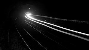 Превью обои железная дорога, свет, длинная выдержка, черно-белый, черный