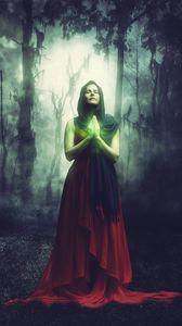 Превью обои женщина, маг, магия, лес, сюрреалистический