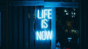 Превью обои жизнь, мотивация, текст, неон