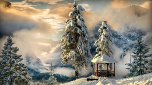 Превью обои зима, беседка, снег, горы, туман