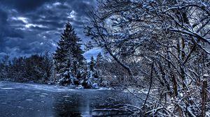 Превью обои зима, деревья, река, озеро, снег, лед, hdr