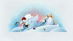 Превью обои зима, медведи, хоккей, клюшка, ребёнок, пингвин, веселье, тюлень
