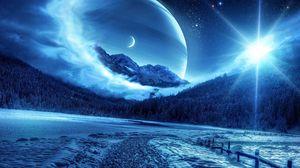 Превью обои зима, ночь, горы, дорога, планеты, фантастический пейзаж