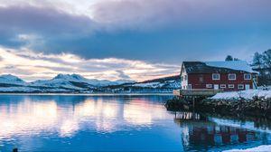 Превью обои зима, озеро, горы, берег