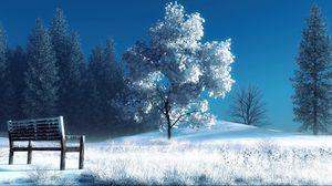 Превью обои зима, пейзаж, природа, снег, скамейка, деревья