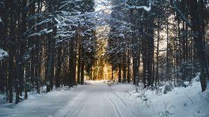 Превью обои зима, снег, дорога, деревья