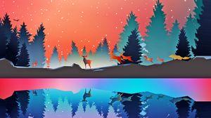 Превью обои зима, животные, арт, вектор, лес, отражение