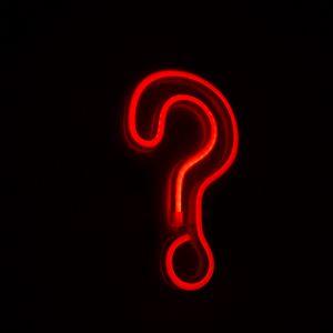 Превью обои знак вопроса, символ, неон, красный, темный
