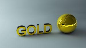 Превью обои золото, буквы, шар, поверхность