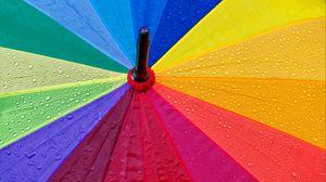 Превью обои зонт, капли, разноцветный, дождь