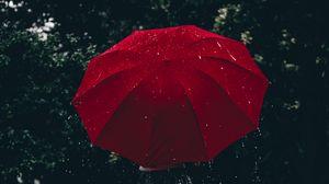 Превью обои зонт, красный, девушка, дождь