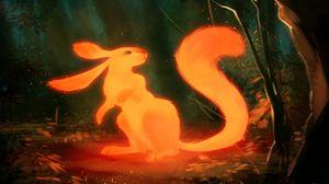 Превью обои зверек, арт, оранжевый, сказочный