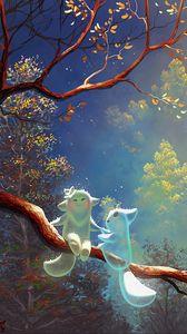 Превью обои звери, дерево, ветка, волшебство, арт, фантазия