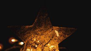 Превью обои звезда, гирлянды, свет, темный, подсветка