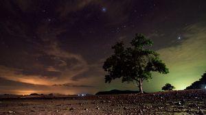 Превью обои звездное небо, дерево, песок, ночь, ко ланта, таиланд