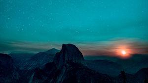 Превью обои звездное небо, горы, восход, йосемитская долина