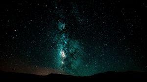 Превью обои звездное небо, млечный путь, ночь, сияние, галактика