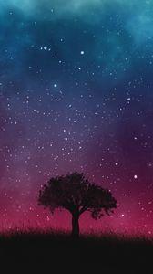 Превью обои звездное небо, ночь, дерево