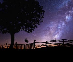 Превью обои звездное небо, силуэт, качели, дерево, ночь