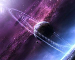 Превью обои звезды, космос, сияние, планета