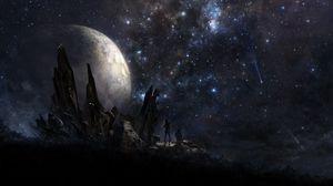 Превью обои звезды, люди, планета, арт