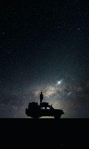 Превью обои звезды, небо, космос, автомобиль