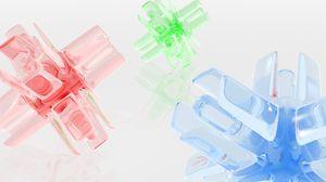Превью обои синий, зеленый, красный, стекло, форма