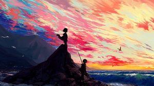 Превью обои скала, дети, арт, море, берег