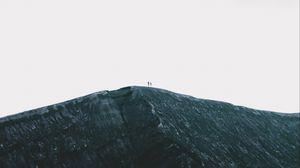Превью обои скала, гора, силуэты, вершина, небо, минимализм