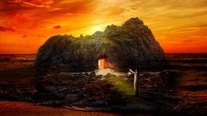 Превью обои скала, пещера, человек, одинокий, море