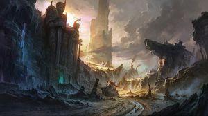 Превью обои скалы, разрушение, город, пейзаж, водопад