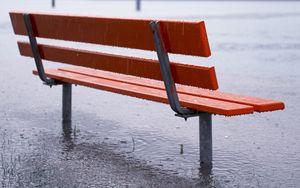 Превью обои скамейка, дождь, ливень, лужи