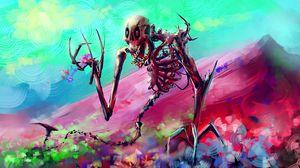 Превью обои скелет, арт, яркий, красочный