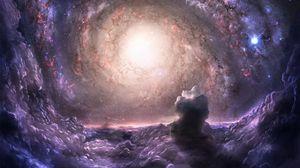 Превью обои скопление галактик, гравитация, связь