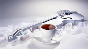 Превью обои скрипка, чай, чашка, напиток, ткань, шелк